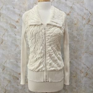 BELLDINI Faux Fur Zip Up Sweater Ivory Rhinestones